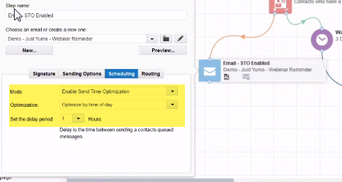 Eloqua Send Time Optimisation example